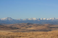 Rocky mountains and foothills. Looking west to the rocky mountains and foothills in alberta Royalty Free Stock Image