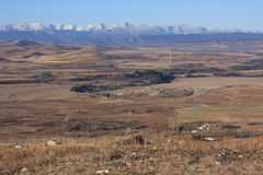 Rocky mountains and foothills. Looking west to the rocky mountains and foothills in alberta Royalty Free Stock Photo