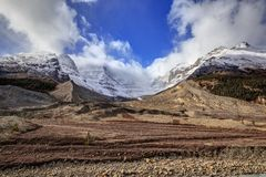 Rocky mountains by the glacier in Columbia Icefield Royalty Free Stock Photo