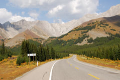 Rocky mountains and highway Royalty Free Stock Images