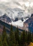 Rocky Mountains i British Columbia på en mulen höstdag Arkivfoto
