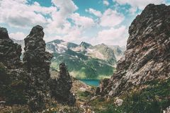 Rocky Mountains and lake aerial view Landscape Summer Travel Royalty Free Stock Image
