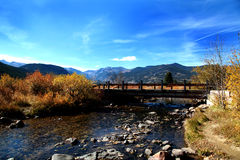 Rocky Mountains Landscape. The Rocky Mountains with a bridge landscape Stock Photography