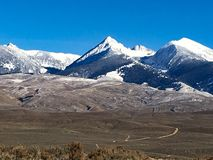 Rocky mountains. A landscape with the Rocky Mountains with snow on the peaks stock photos