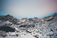 Rocky Mountains Landscape sur le coucher du soleil Photos stock