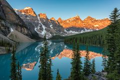 Rocky Mountains - Moraine lake in Banff National Park of Canada Stock Image