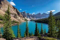 Rocky Mountains - Moraine lake in Banff National Park of Canada Royalty Free Stock Photography