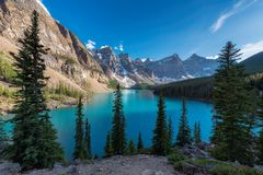 Rocky Mountains - Moraine lake at sunset in Banff National Park of Canada Royalty Free Stock Image