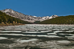 Rocky Mountains National Park. Fozen lake with Mountains in the Background Royalty Free Stock Photo