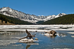 Rocky Mountains National Park. Fozen lake with Mountains in the Background Royalty Free Stock Images