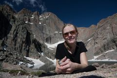Rocky Mountains National Park with hiker girl. Stock Photography