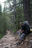 Rocky Mountains National Park, with hiker . Stock Photography
