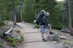 Rocky Mountains National Park, with hiker on a trail to Longs Peak. Stock Photo