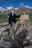 Rocky Mountains National Park, with hiker on a trail to Longs Peak. Royalty Free Stock Images