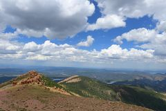Rocky Mountains Near Pikes Peak. Panoramic view of Colorado mountains near Pikes Peak royalty free stock image