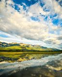 Rocky Mountains Reflection in Wetlands Landscape Stock Photography