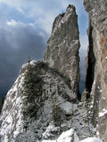 Rocky mountains in Romania. The rocks from Rarau Mountains, called Pietrele Doamnei meaning Lady`s Stone Stock Image