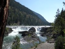 Water rushing over rocks in the alaskan wilderness stock video