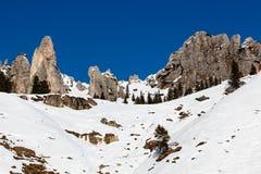 Rocky Mountains on the Ski Resort of Arabba Royalty Free Stock Photo