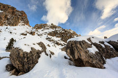 Rocky Mountains on the Skiing Resort of Colfosco Stock Image