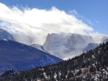 Rocky Mountains Snow Capped Peaks Above the Treeline Stock Images