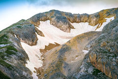 Rocky Mountains Summit with glacier snow way beautiful Landscape Stock Photo