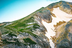 Rocky Mountains Summit with glacier snow way beautiful Landscape Royalty Free Stock Photos