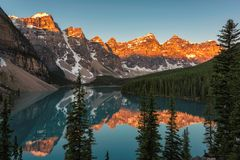 Rocky Mountains at sunrise - Moraine lake in Banff National Park of Canada Royalty Free Stock Images