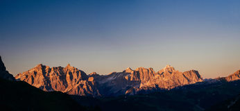 Rocky Mountains at sunset. Beauty world. Dolomite Alps Italy. Rocky Mountains at sunset. Dolomite Alps, Italy Royalty Free Stock Photos