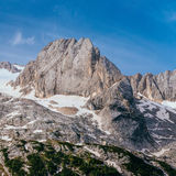 Rocky Mountains at sunset.Dolomite Alps, Italy.  Royalty Free Stock Photography