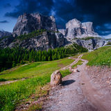 Rocky Mountains at sunset.Dolomite Alps, Italy Royalty Free Stock Photos