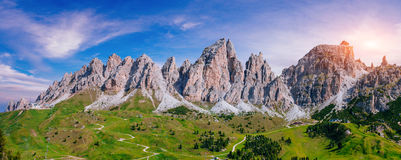 Rocky Mountains at sunset.Dolomite Alps, Italy. Royalty Free Stock Image