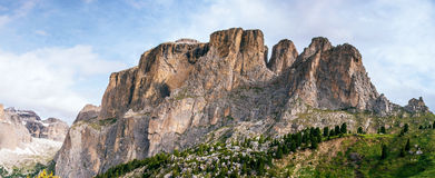 Rocky Mountains at sunset.Dolomite Alps, Italy. Royalty Free Stock Images