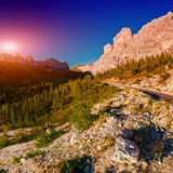 Rocky Mountains at sunset.Dolomite Alps, Italy. Rocky Mountains at sunset.Dolomite Alps Italy Stock Photos