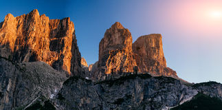 Rocky Mountains at sunset.Dolomite Alps, Italy. Rocky Mountains at sunset.Dolomite Alps Italy Royalty Free Stock Images