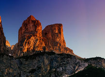 Rocky Mountains at sunset.Dolomite Alps, Italy. Rocky Mountains at sunset.Dolomite Alps Italy Royalty Free Stock Photos