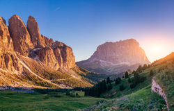 Rocky Mountains at sunset.Dolomite Alps Italy. Rocky Mountains at sunset.Dolomite Alps, Italy Royalty Free Stock Images