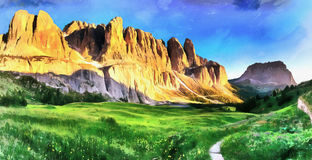 Rocky Mountains at sunset. Dolomite Alps, Italy. Rocky Mountains at sunset. Dolomite Alps Italy Stock Images