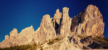 Rocky Mountains at sunset. Dolomite Alps, Italy. Rocky Mountains at sunset. Dolomite Alps Italy Royalty Free Stock Photo