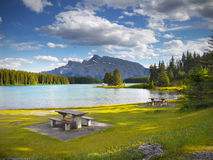 Rocky Mountains, Two Jack Lake, Canada stock photo