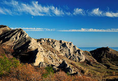 Rocky Mountains in the valley in autumn. Ridge of the Crimean mountains in autumn Royalty Free Stock Image