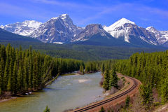 Rocky Mountains. View over a river through the Rocky Mountains, Banff, Canada Stock Image