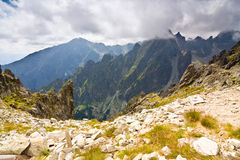 Rocky mountains view seen from Lomnicke sedlo in High Tatras, Slovakia Royalty Free Stock Photos
