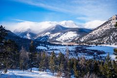 Rocky Mountains in Winter Stock Image