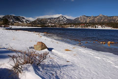 The Rocky Mountains during winter, viewed from across Lake Estes. Stock Image
