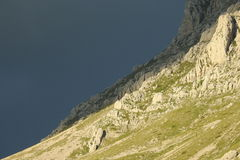 Rocky mountainside. A steep mountainside at the Pindus mountain range stock photo