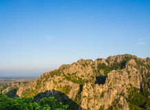The rocky moutain. In the morning and blue sky Royalty Free Stock Image
