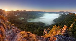 Rocky moutain at sunset - Slovakia, Sulov Stock Photography