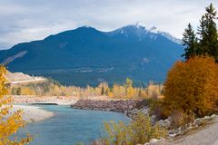 Rocky Moutains and river from the town of Golden in BC, Canada Royalty Free Stock Image