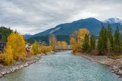 Rocky Moutains and river from the town of Golden in BC, Canada. View of the Rocky Moutains and Kicking Horse river from the town of Golden in British Columbia royalty free stock photo